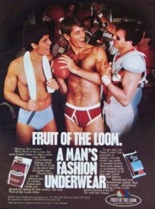 """I can imagine the football player saying, """"Hey, guys, I might run across the field wearing tight pants and monstrous shoulder pads. But I sure look way less ridiculous than either of you do now socializing in your underwear."""""""