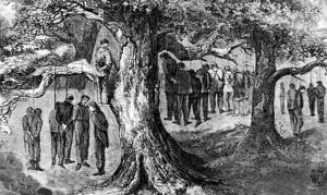 Southern Unionists were often targets of violence by Confederates during the American Civil War. This is an engraving of a mass hanging of Southern Unionists in Gainesville, Texas.