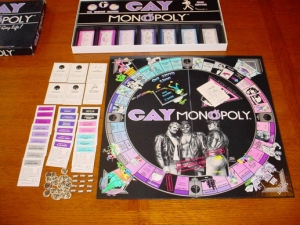 Gay Monopoly: A kind of game that perpetuates so many gay male stereotypes that it should go back into the closet where it belongs. Seriously,  it doesn't portray an accurate picture of gay life which isn't much different from straight life anyway.