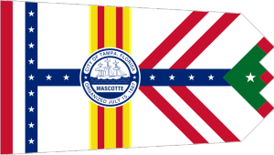 Now that's a very tacky flag. I mean not only does it have a seal in the middle but that colors are so distracting. Of course, it kind of embodies the spirit of the city. If not, then Florida.