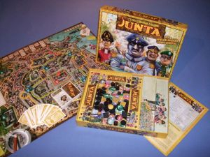 In this game, players represent officers in a junta where they choose El Presidente who rewards them with offices and money. Involves lying, exile, backstabbing, assassination, and other dirty stuff. Certainly not recommended for families of any kind.