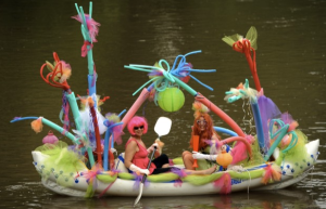 Not sure if I share these girls' taste in decorating. In fact, I actually think this float is kind of tacky. But I'm sure it'll probably not sink as long as it's not carrying more than its capacity.