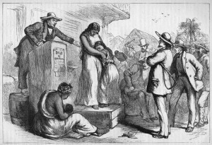 While the Confederate Flag is a symbol of Southern heritage, it's one that embodies some of the worst aspects in the history of the American South. Basically it represents a region that split with the country in the name of preserving and expanding an institution where blacks were coerced into a lifetime of involuntary servitude with no rights or compensation. Here is an engraving of a slave auction in Virginia where this mother and daughter are unlikely to see each other again.
