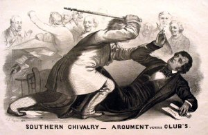 While Confederate Flag supporters tend to argue that the South seceded due to Northern economic and cultural aggression, it's really not the case. In fact, it had more to do with the fact that the North didn't want to cooperate or expand slavery and had successfully retaliated by electing Abraham Lincoln as president in 1860. This shows the caning of Massachusetts US Senator Charles Sumner by South Carolina US Congressman Preston Brooks in the Senate chamber. Yes, the South was usually the aggressor when it came to the years leading up to the American Civil War.
