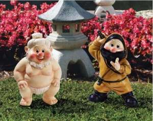 I don't know about you. But they seem more or less resemble the Seven Dwarfs than anything from Japan. And I don't think either of them have any Asian features either.