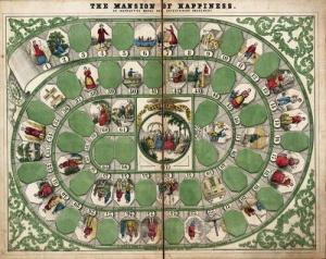 Now the Mansion of Happiness was one of the first mass produced board games in the United States. However, its play usually consists of a highly moralistic Chutes and Ladders. And let's just say some  bad vices lead to torture and jail time in this one.