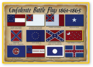 These are the official and military flags used by the Confederacy during the American Civil War. Though never used in any official capacity, the Confederate Battle Flag was used as an unofficial emblem of the Confederacy. This was because it was a very recognizable design from long distances.