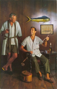Now this is supposed to be an advertisement for pajamas featuring a father and son. But when I see it, they seem like two bros hanging out, enjoying each other's company,  gazing in each other's eyes... Oh, wait a minute. Then again, whatever happens on fishing trips, stays on fishing trips.