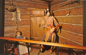 I know I'm supposed to be scared by such a scene. But the white settlers look so cartoonish that I can't take it seriously. Of course, I have a feeling that the Indian in question really wants theses helpless white settlers to get off his lawn.