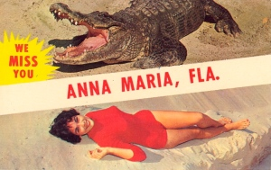 Seems like Anna Maria, Florida has a lot of alligator-on-woman action at its beaches. Still, no matter how ferocious the gator is, the lady in red still smiles. Well, until she finds out she's dinner anyway.