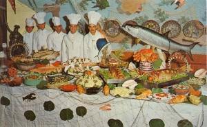 """I can see it now, """"Buffet Fish Retaliates Against Chefs....No Deaths Reported."""" Still, that's a huge fish at the table and seems to make the occasion look ridiculous."""