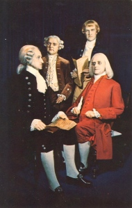Man, I can't help but wonder whether Ben Franklin and George Washington are wearing eyeliner in this or not. Of course, John Adams and Thomas Jefferson really don't seem to get along at the moment. Seems like Jefferson hasn't been having a good day at all.