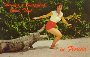 Yeah, I'm sure that the gator doesn't just want to nibble her bum. To me, he might be in the mood for some human rump roast if he asks her out to dinner.