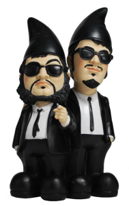 Yes, these are gnomes of the Blues Brothers from 1970s SNL. Look pretty much like the originals save for the beards and cone hats. But you know what they say about garden gnomes though.