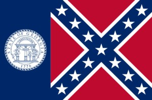 This was the state flag of Georgia from the 1950s to 2001. Its reason to have a Confederate flag on its emblem stems from the racist white legislators trying to send a message against desegregation. Luckily, it was replaced with a less racist design in 2001.