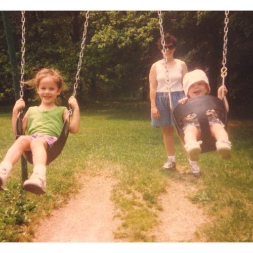 Me and my sister at some park swing set in 1994. Now I'm not a celebrity by any stretch of the imagination. But I just thought this photo was appropriate. That's all.