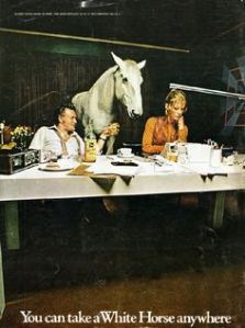 However, remember that they're talking about an alcoholic beverage and not a literal white horse here. Let's just say having a real white horse at a fancy restaurant or dinner table can get quite awkward. Also, I think the horse is rather bored stiff and might leave a special surprise on the floor.