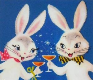 While this ad might look adorable on the surface, I'm not sure about taking a closer look at it. Yes, they seem to be enjoying cocktails. But the girl rabbit appears wasted while the boy rabbit's eyes seem to be in diabolical anticipation. Like he's eagerly waiting when the roofies will kick in.