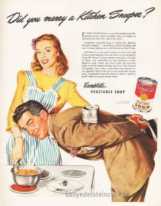 Wonder what she's reaching for with her other hand. Is her husband anxious for his dinner or some intimate moments away from the kids? Either way, eating Campbell's soup might but them at risk for heart disease due to its high sodium content. Because as they say at Campbell's,