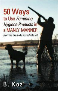 Even funnier is how you see a guy hunting with his dog on the cover. Probably a way for the designer to show readers that this it's a book for manly men. But it begs the question on how you can use a tampon for duck hunting.
