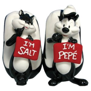 Of course, her name is more likely Penelope, not salt. However, Pepe should really get the memo that she's a cat, not a skunk. But who cares?