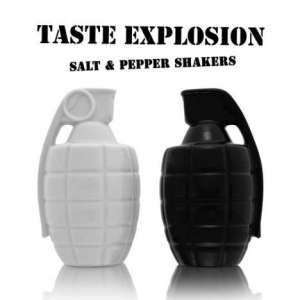 Now I don't know what to think of this. In fact, I'd be afraid to pull the pins on these for fear they may explode. I really don't want to be salt or pepper bombed.