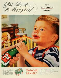 I don't starting kids on 7 UP while they're still in diapers is a good idea. Might give them an early start in developing Type II Diabetes and childhood obesity. Yeah, I'm sure that makes you an exemplar on parenting (sarcasm).