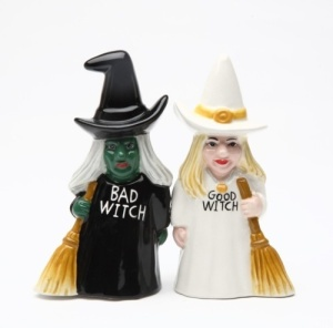 Now I hate to say this but this set up looks rather stereotypical. I mean good witches don't always wear white and are blond. Bad witches aren't always green and wear black.
