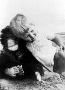 Now here's the little lady with her toy chimpanzee, which is so adorable. Little did we know that it would amount to a lifetime of studying chimpanzees in the wild in Africa.