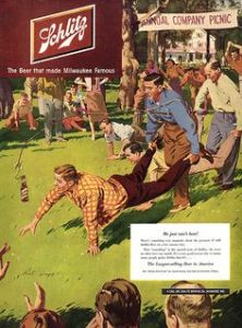 Guess this was a way for a guy's work buddies to tell him that he might need to do a twelve step program. Seriously, none of the other guys in this race are luring their partners with beer bottles. So why did the ad people think it was a good idea?