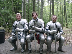 Now these three guys seem to keep their armor pretty squeaky clean. Still, I wouldn't want to be in their mail or metal covered boots.