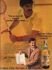Because this pornstached tennis player really doesn't have a lot of confidence when it comes to public speaking. I mean he doesn't seem that he's ready to give a presentation unless he has some Catto scotch.