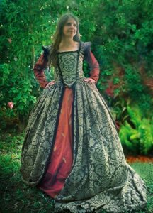 Now the outer dress is quite intricate and beautiful. However, I'm not sure about the dress underneath. Kind of think you shouldn't wear two patterned items of clothing at the same time.