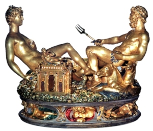 This is the Salieria piece by Benvenuto Cellini. It was made in the 19th century. However, unlike most of the pieces on here, it's a museum piece, and therefore, not for sale.