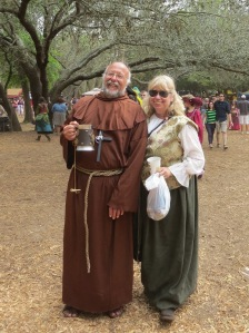 I'm sure these two are husband and wife in real life. But at the Renaissance Festival, nobody cares about him betraying his holy vows.