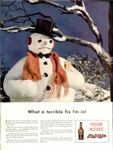 Seems like Frosty isn't the happy snowman most people thought he was. Guess he's turning to booze to drown his sorrows about his imminent mortality. We call it,