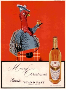 Uh, turkeys are native to North America. So why have it on an ad for scotch dressed in a kilt really doesn't make any sense to me. Dressing it as an Indian for Thanksgiving would've been more appropriate.