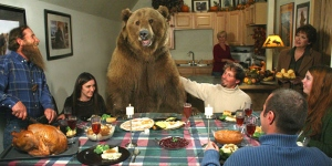 I'm sure any other situation involving a grizzly at the dinner table is bound to end horribly. Yes, old Bearikins may soon have the best Thanksgiving of his life. Everyone else will probably have their last.