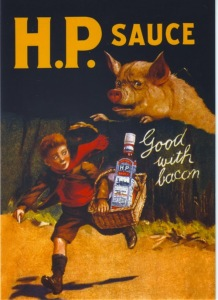 Maybe it is. However, H.P. Sauce won't do you any good with bacon if that bacon is chasing you. Yeah, that is one of the scariest and evil pigs I've ever seen in my life.