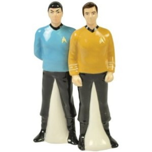 Yes, these are Star Trek salt and pepper shakers. Yes, they consist of Kirk and Spock. No, I don't know which one is which.