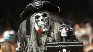 Yes, zombie pirates may be the bad guys in the Pirates of the Caribbean franchise. But even they have to reserve their fall weekends to they can watch their beloved Oakland Raiders.