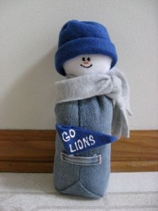 I think they have snowmen like this for all the teams. But unlike the other snowman, this one is fully clothed and sewn with denim.