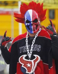 Of course, he's just a Houston Texans fan with a rather scary mask and wig. Still, some NFL fans can get quite a bit out of hand at times.