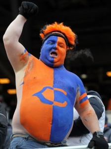 And let's just say, it's certainly not working with this Chicago Bears fan. Yeah, he kind of looks ridiculous. But when it comes to NFL fans, it's the thought that counts.