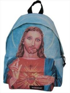 Of course, I'm not sure if a kid will be beat up at school for a backpack like this. But something in Jesus's terrifying eyes tells me that you might not want to mess with him. Stop, Jesus, you're creeping me out.