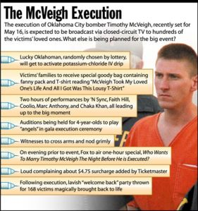 Now this Timothy McVeigh graphic was taken from a satirical newspaper called The Onion. But it demonstrates how guys like the Oklahoma City bomber got tons of publicity in the days leading up to his execution. Now McVeigh was a terrorist who killed about 168 people and injured over 680. Had this guy gotten life in prison, we would've not heard about him again until his death in obscurity from natural causes. He didn't deserve the publicity or have his execution be front page news.