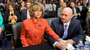 This is former Democratic US Congresswoman Gabrielle Giffords and her husband astronaut Mark Kelly. In 2011, Giffords was shot in the head by Jared Loughner in her district of Tucson, Arizona. She had to resign her seat to recover from her injuries. She and her husband are now advocates for gun control, not surprisingly.