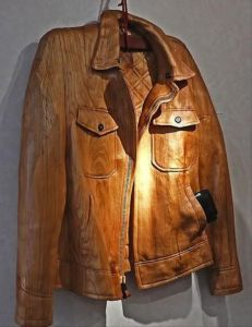 Actually that wooden jacket may look real. But it wouldn't be comfortable to wear. Well, if you can wear it. Also, what's in that pocket?