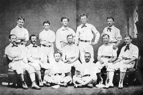 In the 19th century, baseball was a gentlemen's game and a great American pastime. It was a time when pitchers can only throw underhand, balls can be caught on the bounce, a pitcher can cover a ball in his own saliva, batters can cite pitch preference, and umpires could confer with the players and fans. Even earlier, there were no strikes, teams played to a 21 score, and bases were run clockwise. Yes, it was a hell of a game in those days.
