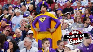 Yes, this guy is dressed in his custom made Superman outfit. And yes, he's wearing it to support his beloved Minnesota Vikings. Not sure about the goofy wig though.